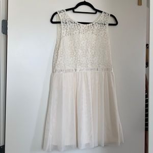 White Lace Dress with chiffon skirt
